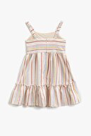 Koton Kız Çocuk Ekru Çizgili Elbise 1YKG87752AW