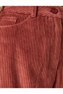 Koton Kadın Bordo Pamuk Fitilli Kadife Yüksek Bel Mom Fit Jeans