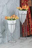 MHK Collection Gümüş Renkli 2'li Büyük Ayaklı Vazo, Çiçeklik