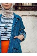lurex moda Kadın Mavi Wintage Oversize Kot Ceket Lrx1125