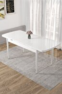 Canisa Concept Via Serisi Açılabilir Mutfak Masası Takımı-beyaz Masa+8 Adet Hardal Sandalye