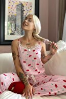 Pijamaevi Chery Dantelli Ip Askılı Örme Kadın Pijama Takımı