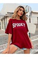 Black Sokak Bordo Spooky Baskılı Oversize Tshirt