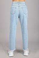 Arlin Kadın Yüksel Bel Tam Kalıp Yırtık Yamalı Lazer Buz Mavi Jean Pantolon