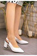 FUGA MODA Ziko Beyaz Cilt Topuklu Ayakkabı