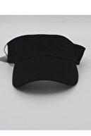 şapkadan Unisex Uv Koruyucu Vizör Kasket Siperlik Tenis Şapka Siyah