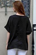 Chiccy Kadın Siyah Sıfır Yaka Günebakan Çiçek Desenli Salaş Dokuma Bluz M10010200BL95412