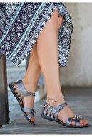 Espardile Kadın Platin Cilt Sandalet