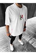 ablukaonline Erkek Beyaz Oversize Snoop Dogg Baskılı T-shirt