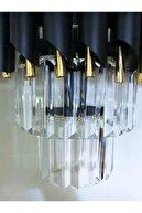 DEKORANLA 30 Cm Lik Kristal Taşlı Lüks Aplik (SİYAH-GOLD) 27x30 Cm