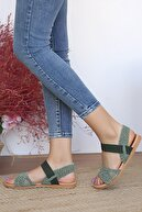 Pembe Potin Kadın Haki Sandalet