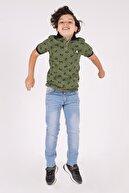 zepkids Erkek Çocuk Polo Yaka T-shirt Palmiye Baskılı 3-12 Yaş