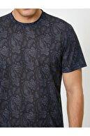 Koton Erkek Siyah Şal Desenli Kısa Kollu T-Shirt