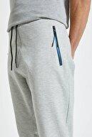 Pull & Bear Erkek Melanj Gri Kontrast Fermuarlı Jogging Fit Pantolon 09678525