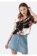 Mavi Kadın Siyah Baskılı Gömlek 122391-30701