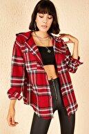 Bianco Lucci Kadın Kırmızı Cepli Kapüşonlu Kaşe Ceket 10141037