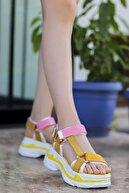 Madam Tarz Rafael Dolgu Taban Sandalet Sarı Pembe