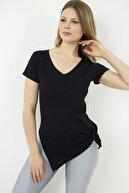 Vis a Vis Kadın Siyah V-yaka Yarasa Kol Basic T-shirt