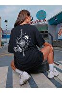 Black Sokak Kadın Siyah North Baskılı Oversize Tshirt