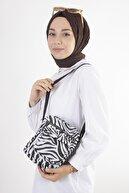 Soobepark Zebra Desenli Kemer Askılı Kadın Omuz Çantası Siyah Beyaz