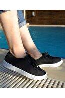 SONEX Kadın Siyah Keten Günlük Sneaker Spor Ayakkabı