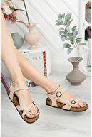 meyra'nın ayakkabıları Krem Mat Çift Toka Sandalet