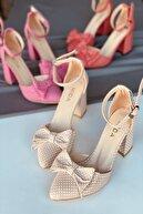 Stepsup Store Ten Puantiyeli Fiyonklu Topuklu Ayakkabı