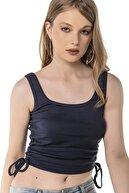 Cadde Cihangir Kadın Açık Lacivert Renk Yandan Tünelli Drapeli Kolsuz Atlet T-shirt