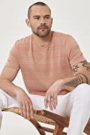 Altınyıldız Classics Erkek Turuncu Slim Fit Günlük Bisiklet Yaka Spor Tişört