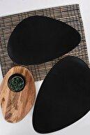 Kitchen Life Mat Siyah Oscar Servis Tabağı Seti - 35cm - 2 Adet