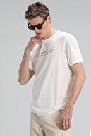 Lufian Ada Modern Grafik T- Shirt Kırık Beyaz