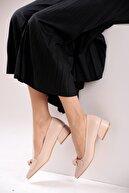 FORS SHOES Bej Cilt Bağlama Fiyonklu Klasik Kadın Ayakkabı Kısa Topuk