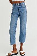 Pull & Bear Crop Straight Fit Yüksek Bel Jean