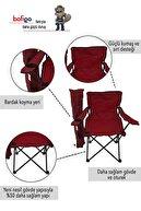 Bofigo 2'li Kamp Sandalyesi Piknik Sandalyesi Katlanır Sandalye Taşıma Çantalı Kamp Sandalye Kırmızı