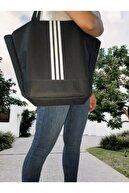 Leila Çanta Kadın Siyah Büyük Boy Çizgili Spor Çanta