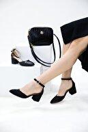 MERVE BAŞ Kadın Siyah Süet Tek Bant Kalın Topuklu Klasik Ayakkabı