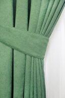 home color home Mint Yeşili Kadife Dokulu Fon Perde Düz Dikişli Ekstrafor Büzgü