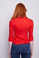 Jument Yakalı Flato Cepli Capri Kol Kısa Blazer Ceket-açık Kırmızı