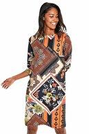 İkiler Kadın Kahverengi Truvakar Kol Etnik Desenli Elbise 190-4026