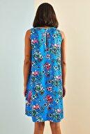 Bianco Lucci Kadın Multi Desenli Sırt Dekolteli Viskon Elbise