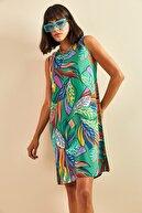 Bianco Lucci Kadın Yeşil Multi Desenli Sırt Dekolteli Viskon Elbise