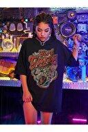 MODAGEN Kadın Siyah Girl Gang Baskılı Oversize T-shirt