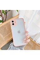 Apple Iphone Se 2020  Kılıf Kamera Korumalı Buzlu Sırt Renkli Kenarlı Tuşlı Silikon