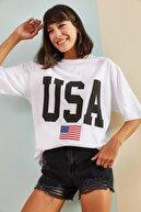 Bianco Lucci Kadın Usa Baskılı Oversize Tshirt