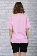 BAYGENTLE Boyfriend Kesim Tatlı Lila Örme T-shirt Kadın Oversize %100 Pamuk