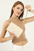 mx modex Krem Kadın Dikişli Kumaş Zincir Detaylı Omuz Çantası