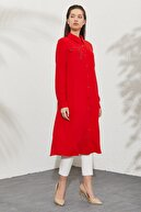 Nihan Gömlek Yaka Kuş Gözü Ve Aksesuar Detaylı Tunik Kırmızı D1175
