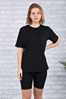 BAYGENTLE Boyfriend Kesim Siyah Örme Kadın Oversize T-shirt Pamuk
