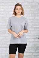 BAYGENTLE Boyfriend Kesim Gri Örme Kadın Oversize T-shirt