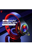 Teknoloji Gelsin Kablosuz Kulaklık Bluetooth Mikrofonlu Kulaküstü Kulaklık Led Işıklı Katlanabilir Siyah
